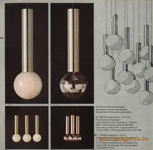 Raak Chandelier - Pendant Lights B-1090, B-1026