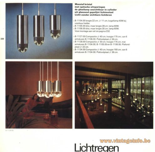 Raak Chandelier - Pendant Lights 'Lichtregen' - (light rain) B-1104, B-1105, B-1106, B-1127, B-1128, B-1134
