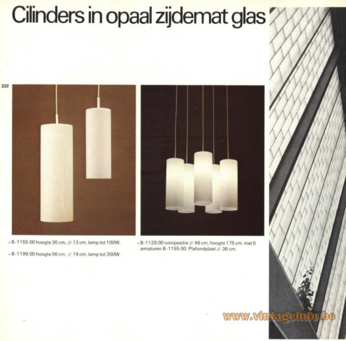 Raak Chandelier - Pendant Lights 'Cilinders In Opaal Zijdemat Glas' B-1155, B-1199, B-1009-21, B-1129 (Cylinders In Silk Matt Opal Glass)