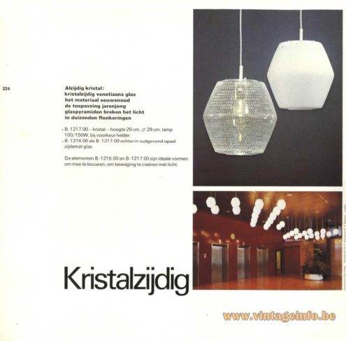 Raak Chandelier - Pendant Lights 'Kristalzijdig' B-1216.00, B-1217.00 (crystal sided)