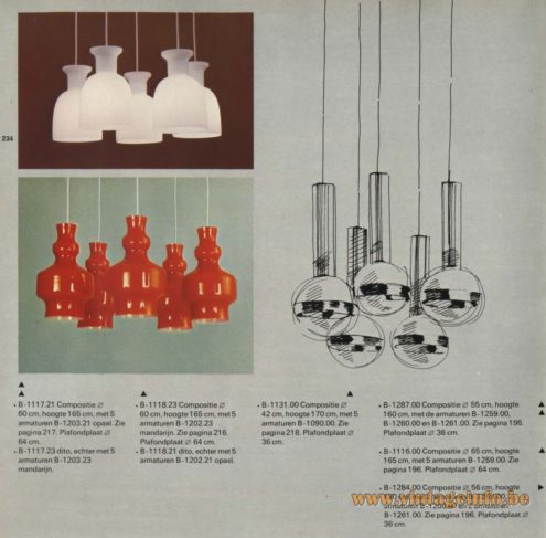aak Chandelier - Pendant Lights 'Composities' (compositions) B-1117.21, B-1117.23, B-1118.23, 1118.21, B-1131.00, B-1287.00, B-1260.00, B-1116.00, B-1284.00, B-1261.00