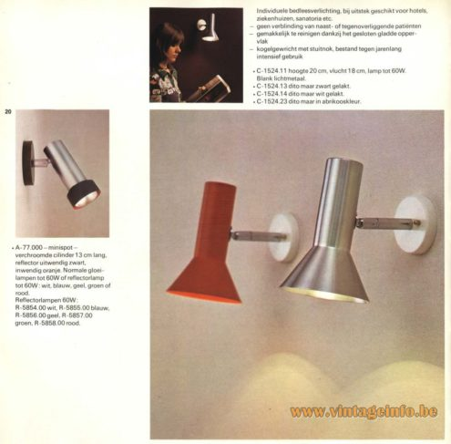 Raak A-77.000 and C-1524 Wall Light