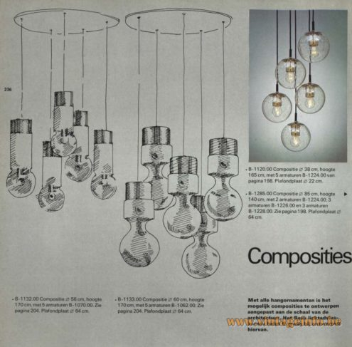 Raak Chandelier - Pendant Lights 'Composities' (compositions) B-1132.00, B-1133.00, B-1120.00, B-1285.00, B-1228.00