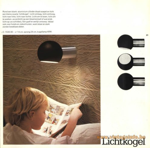 Raak Wall Light - C-1530 'Lichtkogel' (Light Bullet)