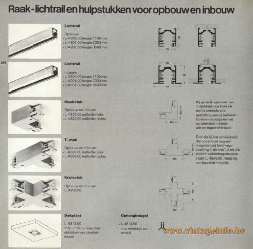 Raak Lichtrail En Hulpstukken Voor Opbouw En Inbouw (Light Rail And Attachments for Construction and Installation), L-4800, L-4801, L-4802, L-4900, L-4901, L-4902, L-4807, L-4827, L-4808, L-4828, L-4809, L-4813