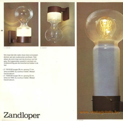 Raak 'Zandloper' Wall Light - C-1618, C-1628