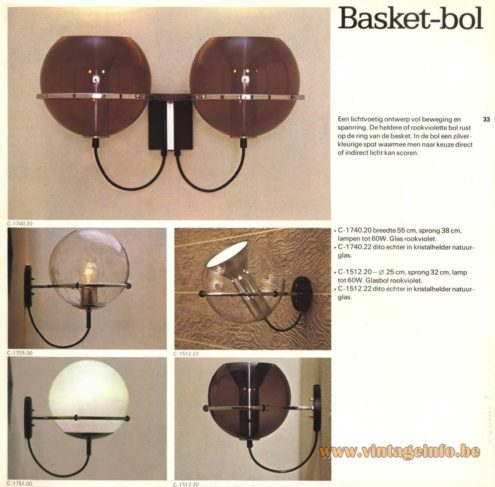 Raak 'Basket-Bol' Wall Light - C-1740, C-1512