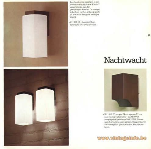 Raak Wall Light - C-1535 and Raak Wall Light 'Nachtwacht' - W-1815 (night watch)