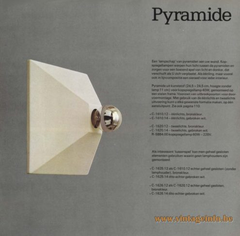 Raak 'Pyramide' Wall Light or Ceiling Light - C-1610, C-1620, C-1625, C-1626, Licht Bulb: R-5884