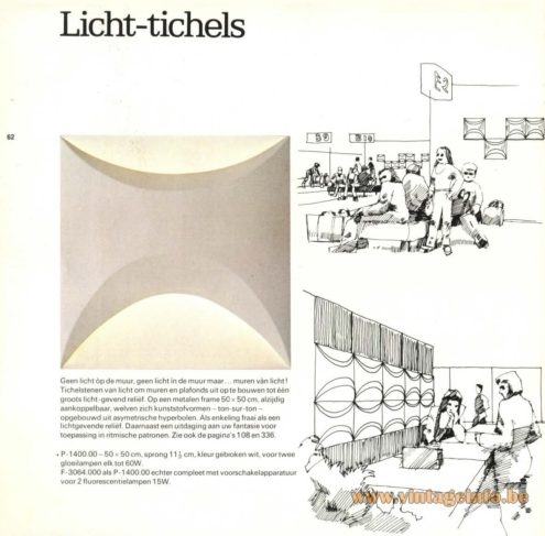 Raak 'Licht-Tichels' Wall Light P-1400, F-3064 (tichelstenen = bricks, Licht-Tichels as described: Walls Of Light)