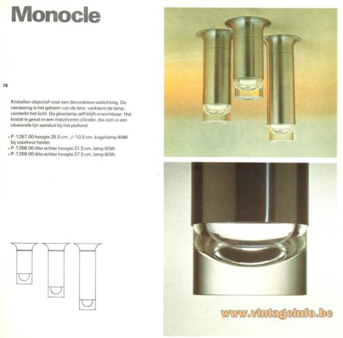 Raak 'Monocle' Flush Mount P-1267, P-1268, P-1269