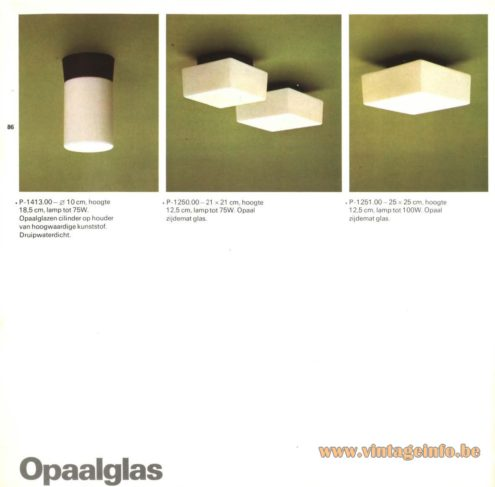 Raak 'Opaalglas' Flush Mount P-1413, P-1250, P-1251 (opal glass)