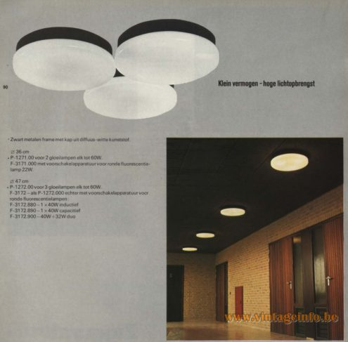 Raak 'Klein Vermogen, Hoge Lichtopbrengst' Flush Mount, P-1271, F-3171, P-1272, F-1372 (small power, high light output)