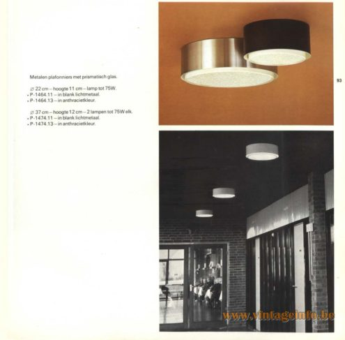 Raak Flush Mount P-1464.11, P-1464.13, P-1474.11, P-1474.13 - 'Metalen Plafoniers Met Prismatisch Glas' (metal ceiling lights with prismatic glass)