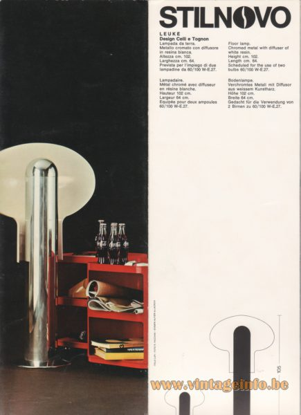 Stilnovo Leuke Floor Lamp, design Celli e Tognon - 1972