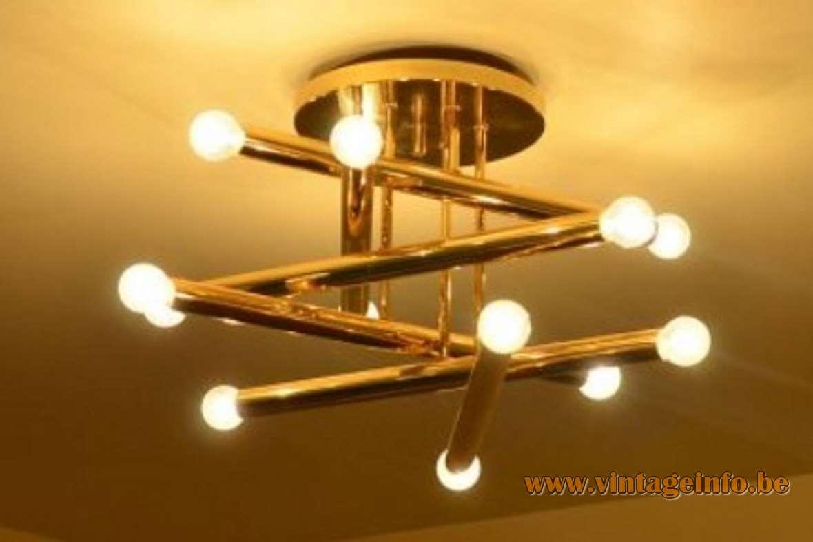 Gaetano Sciolari Brass Ceiling Light