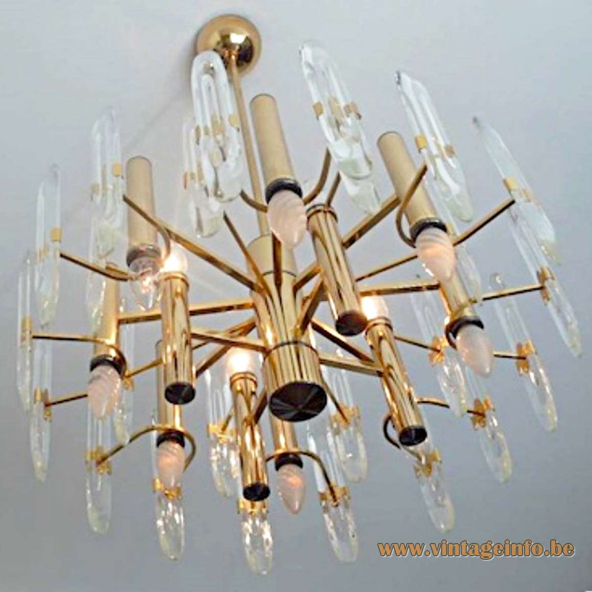 Gaetano Sciolari Brass & Crystal Glass Chandelier