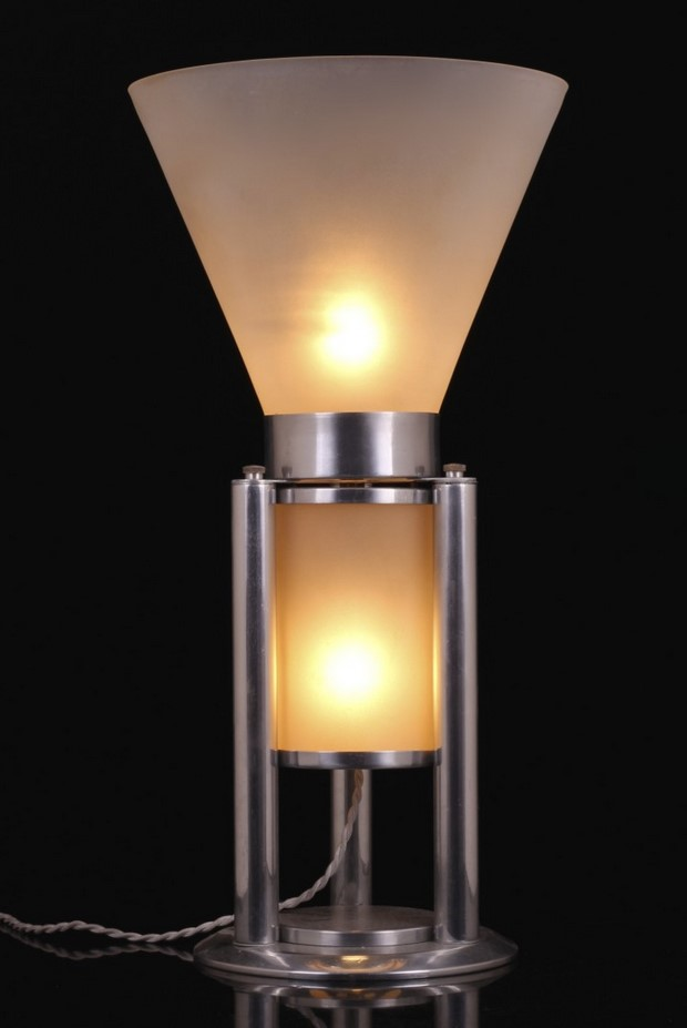 Boris Lacroix Table Lamp Art Deco nickel-plated frosted glass