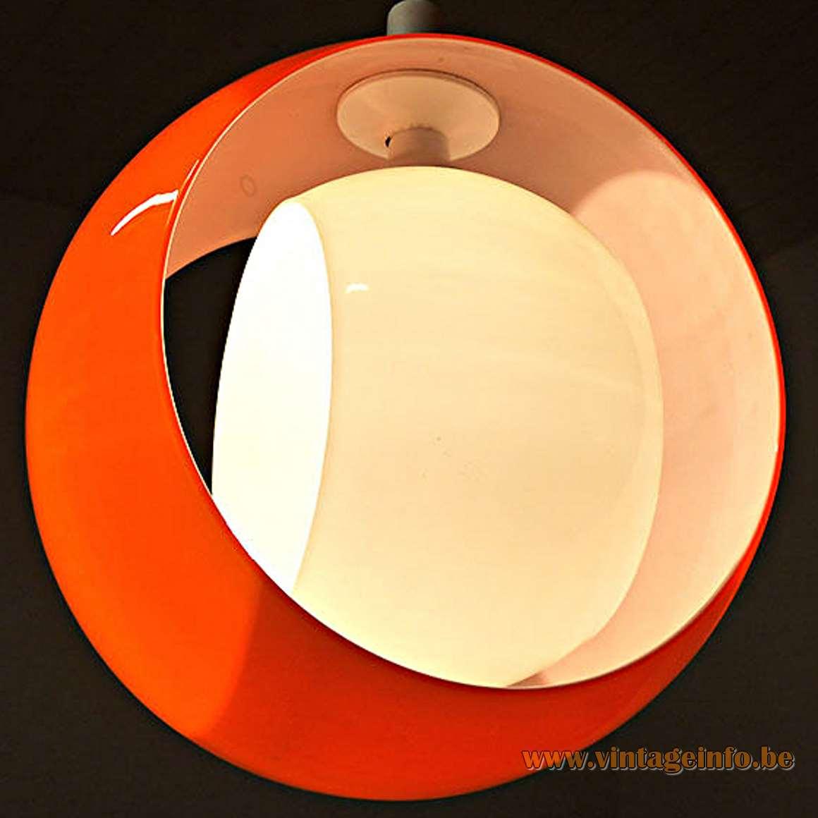 AV Mazzega Eclips Pendant Light - orange and white