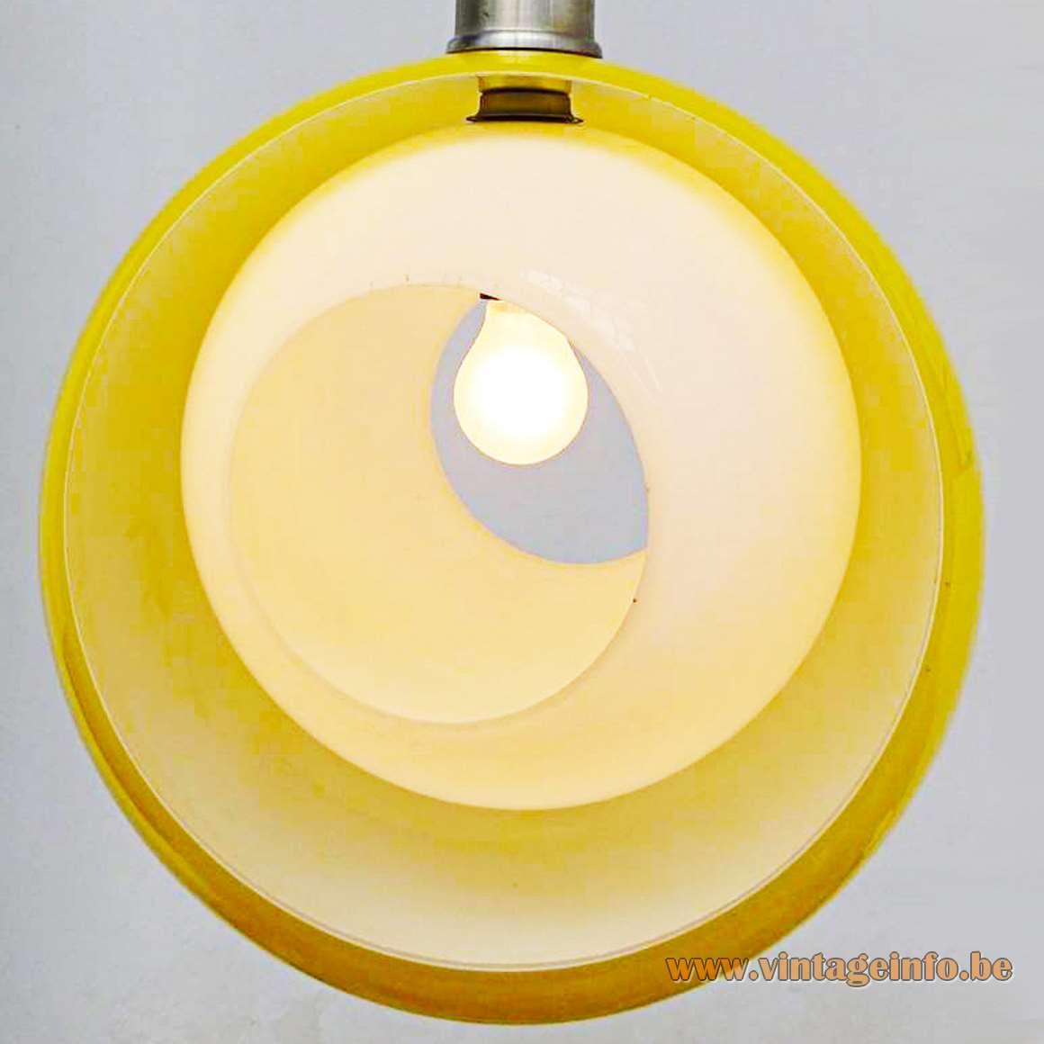 AV Mazzega Eclips Pendant Light - yellow and white