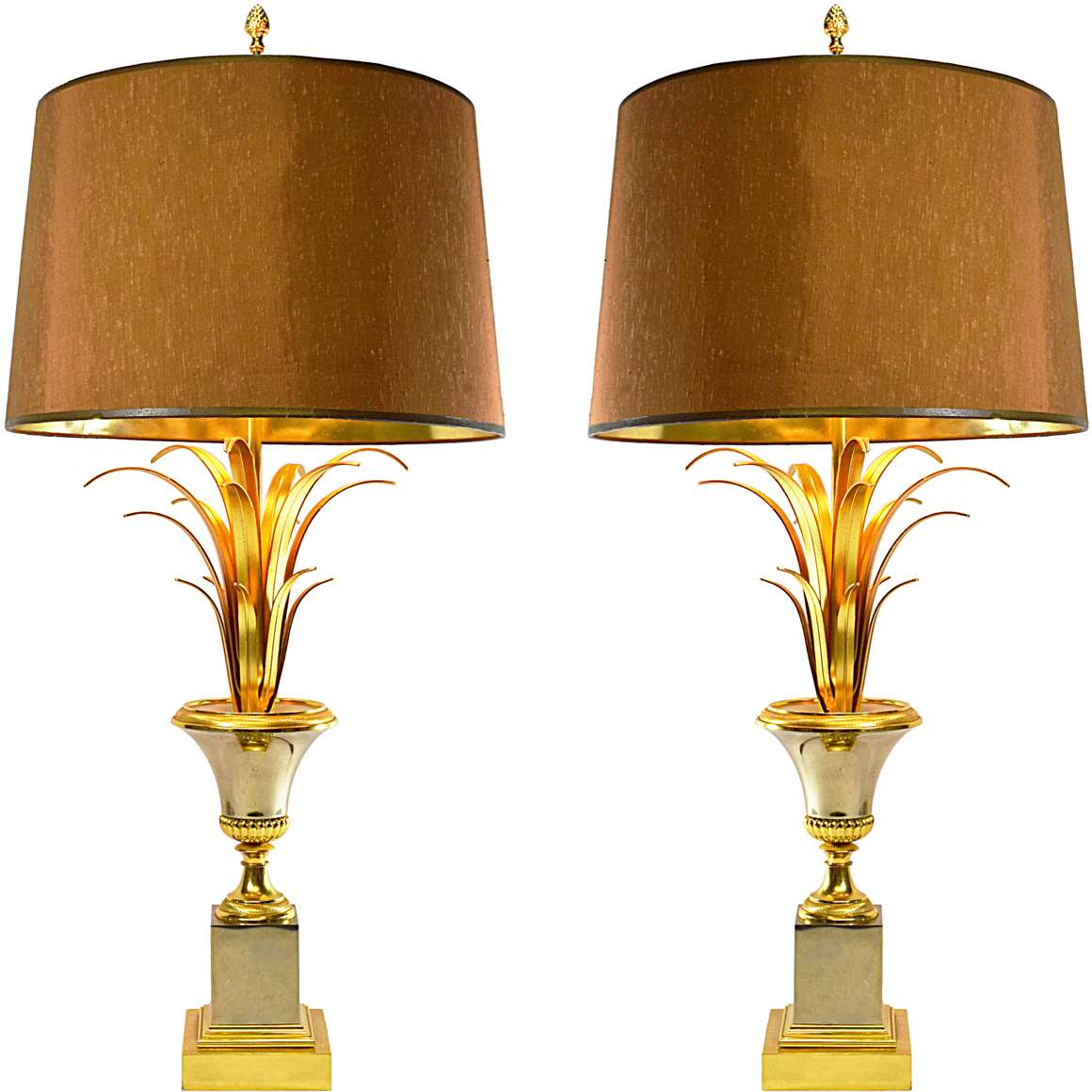 S.A. Boulanger Brass & Chrome Reed Table Lamps