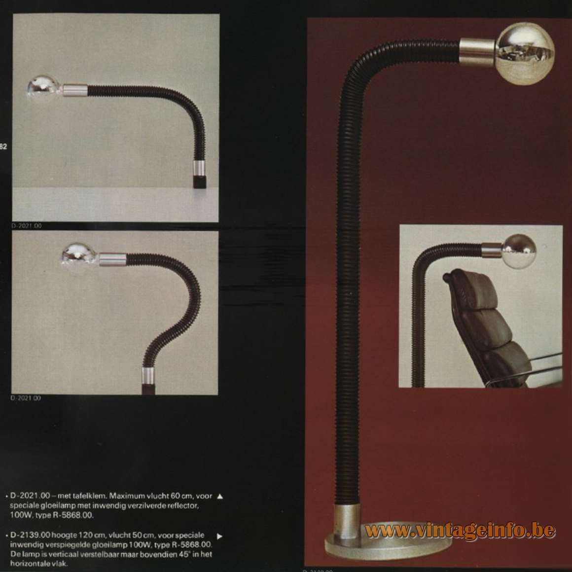 Raak Cobra Desk & Floor Lamp - Catalogue 9 - 1972