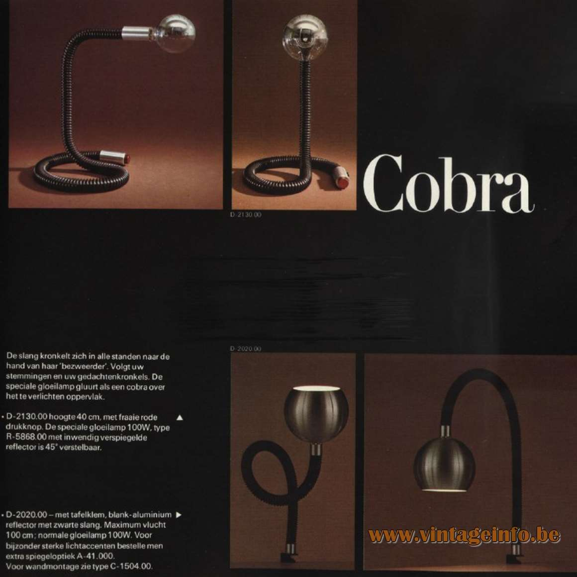 Raak Cobra Table or Desk Lamp and Clamp Lamp - Catalogue 9 - 1972