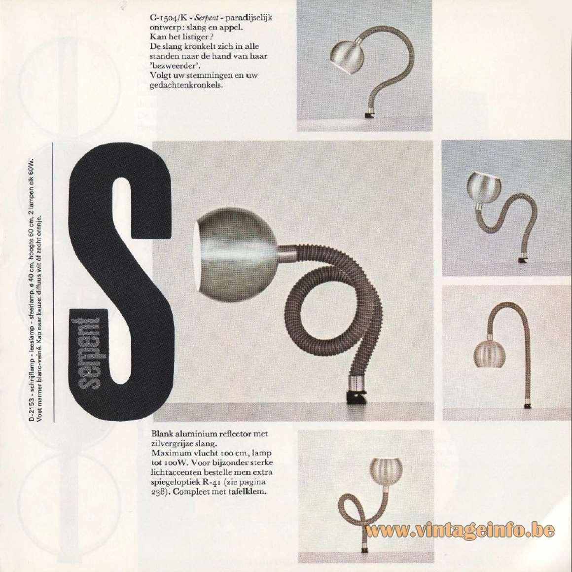 Raak Serpent Table or Desk Clamp Lamp Catalague 8 - 1968