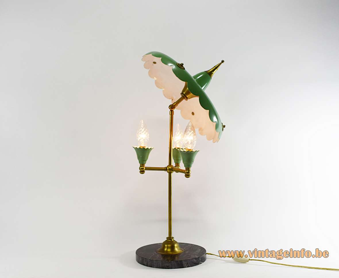 1950s Italian Parasol Table Lamp black round marble base brass parts green painted aluminium lampshade