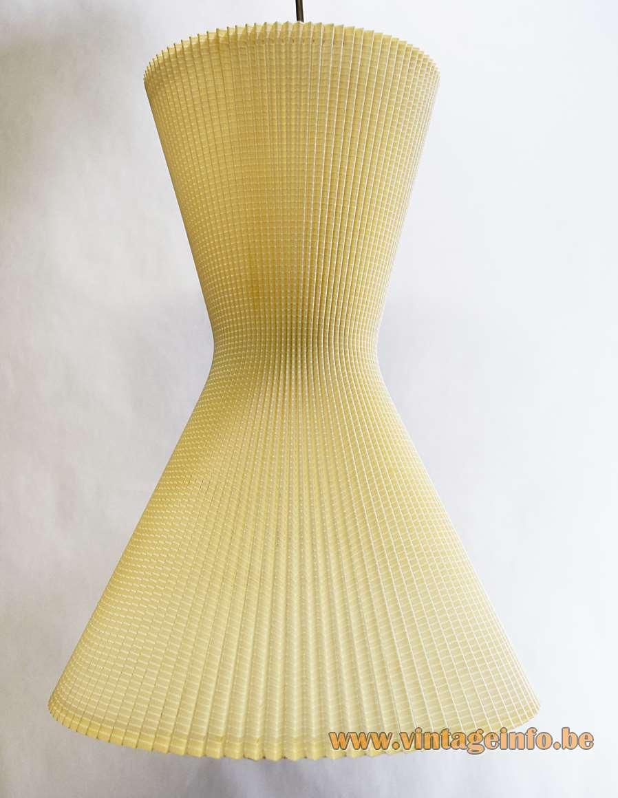 1950s Diabolo Pendant Lamps, Made in Germany, steel wire, beige folded cotton