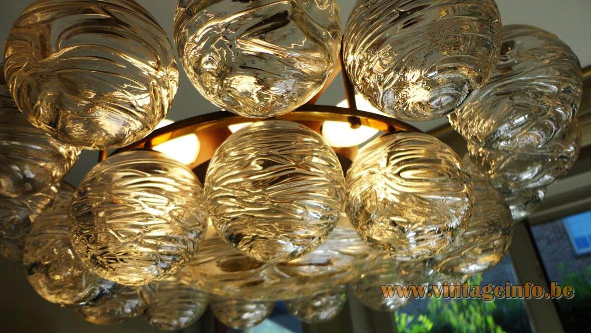 1960s Doria snowball chandelier 27 swirled glass balls globes brass frame 1970s Germany