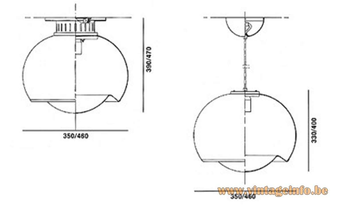 Harvey Guzzini Bud Pendant Lamp acrylic Design: 1968 Studio 6G IGuzzini Grande Meblo scheme