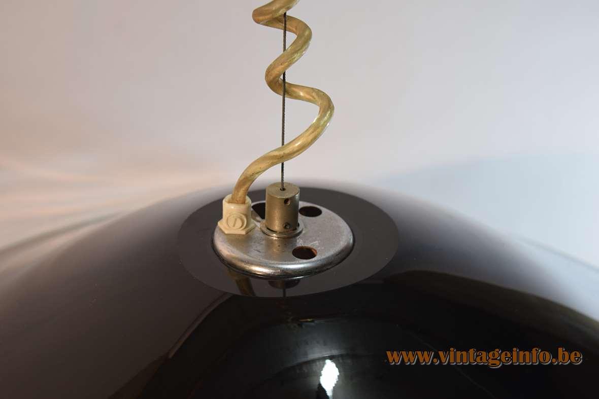 Leucos Melaina pendant lamp black and clear Murano glass Design: Renato Toso, 1968, Italy