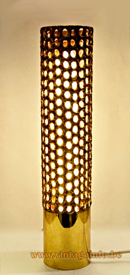 Pierre Forsell Brass Brutalist Table Lamp, Skultuna Bruk Sweden, 1965