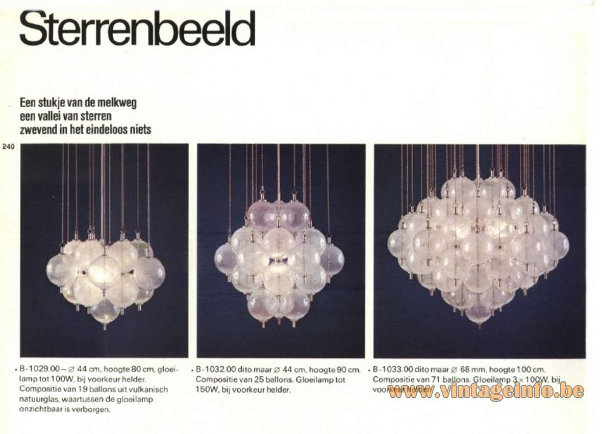 Raak Sterrenbeeld Ceiling Lamp flush mount hand blown clear glass balls Catalogue picture