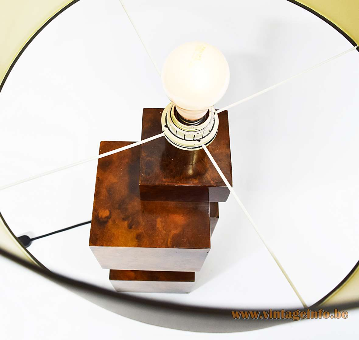 Burr Walnut Cityscape Table Lamp