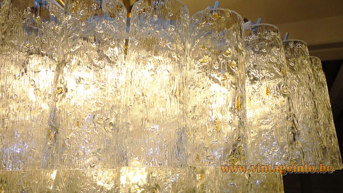 Doria 60 gold flakes swirled glass tubes chandelier brass frame 1960s 1970s Germany