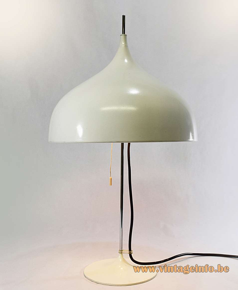 Doria Mushroom Table Lamp Klaus Slama designer white aluminium chrome 1970s 1980s Germany
