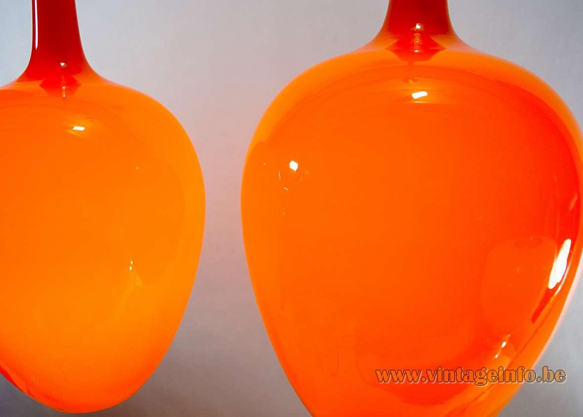 Fog & Morup Pompeï Pendant Lamps, Design: Jo Hammerborg 1963, Denmark, orange glass