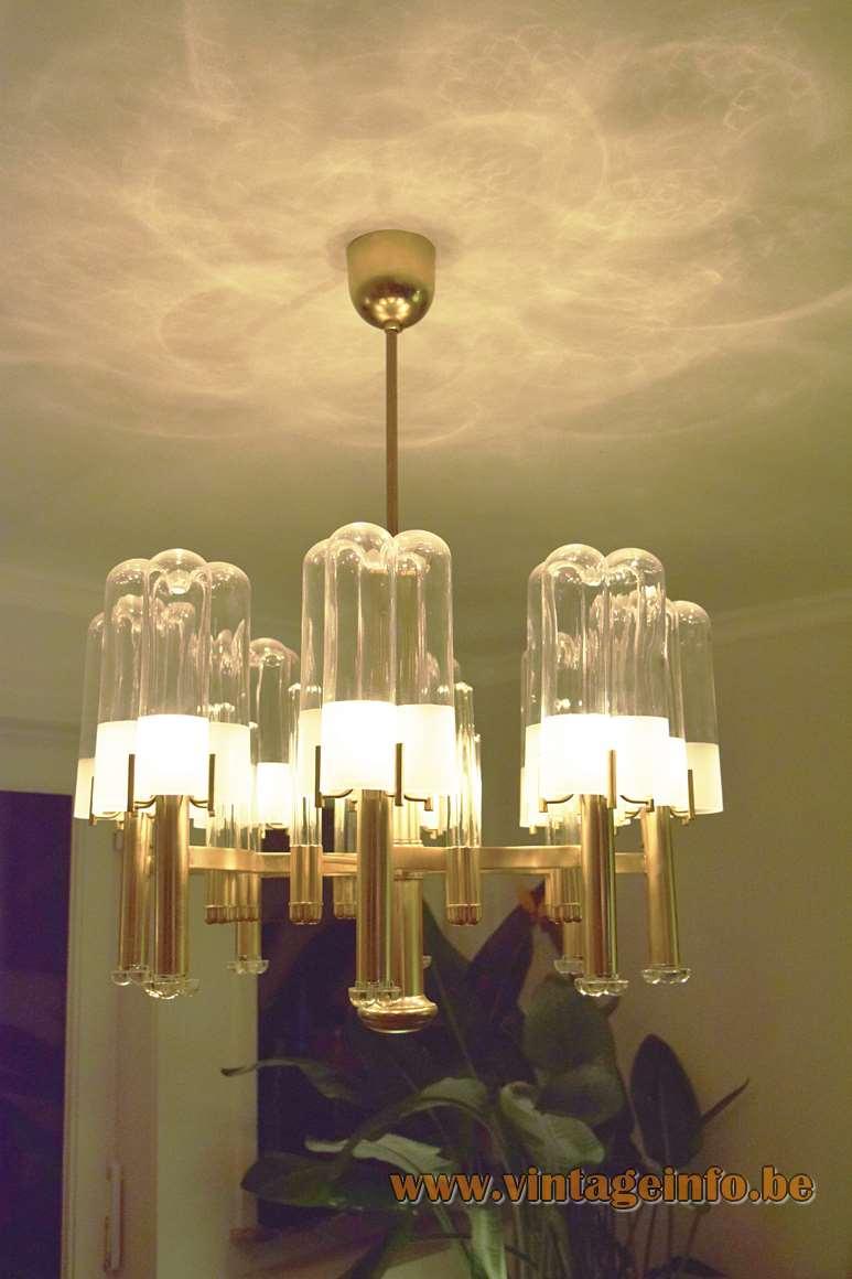 Gaetano Sciolari Brass & Crystal Glass Chandelier