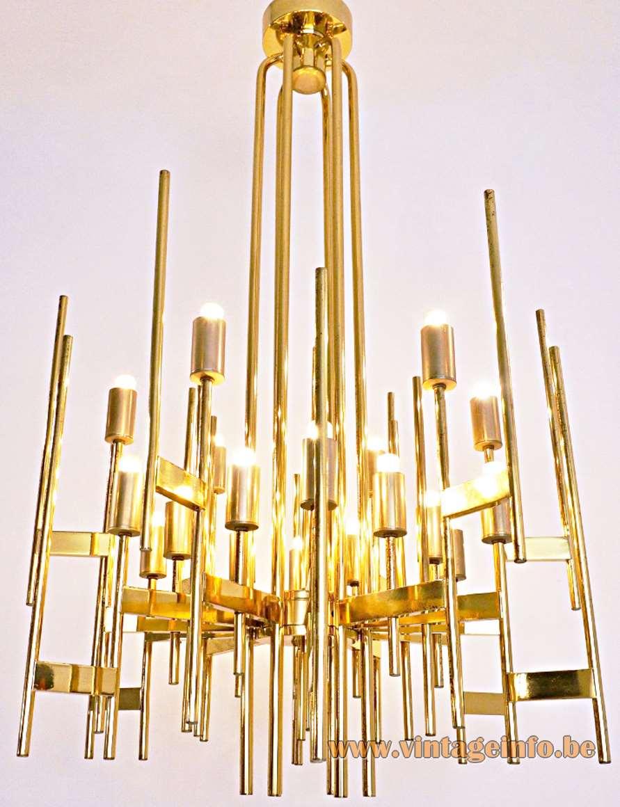 Gaetano Sciolari Brass Tubes Chandelier