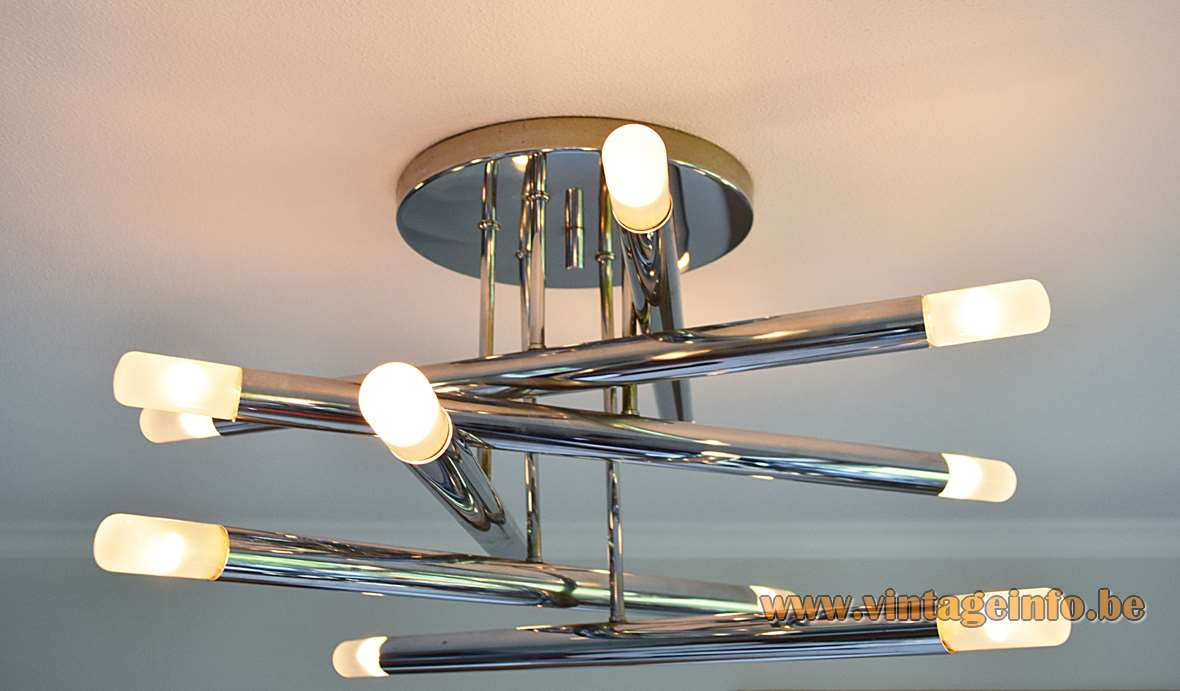 Gaetano Sciolari Chrome Tubes Flush Mount, ceiling lamp, 12 light bulbs, 1960s, 1970s
