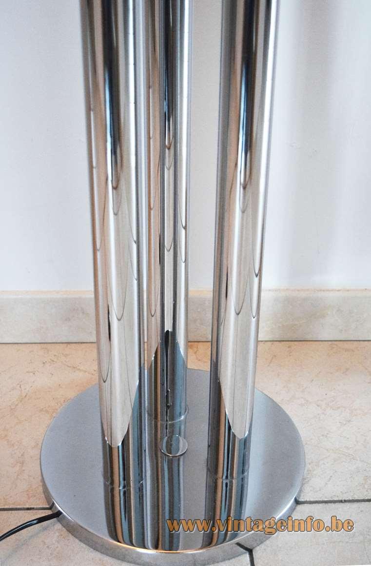 Gaetano Sciolari Chrome Floor Lamp 1960s 1970s Boulanger 3 globe bulbs tubes tubular