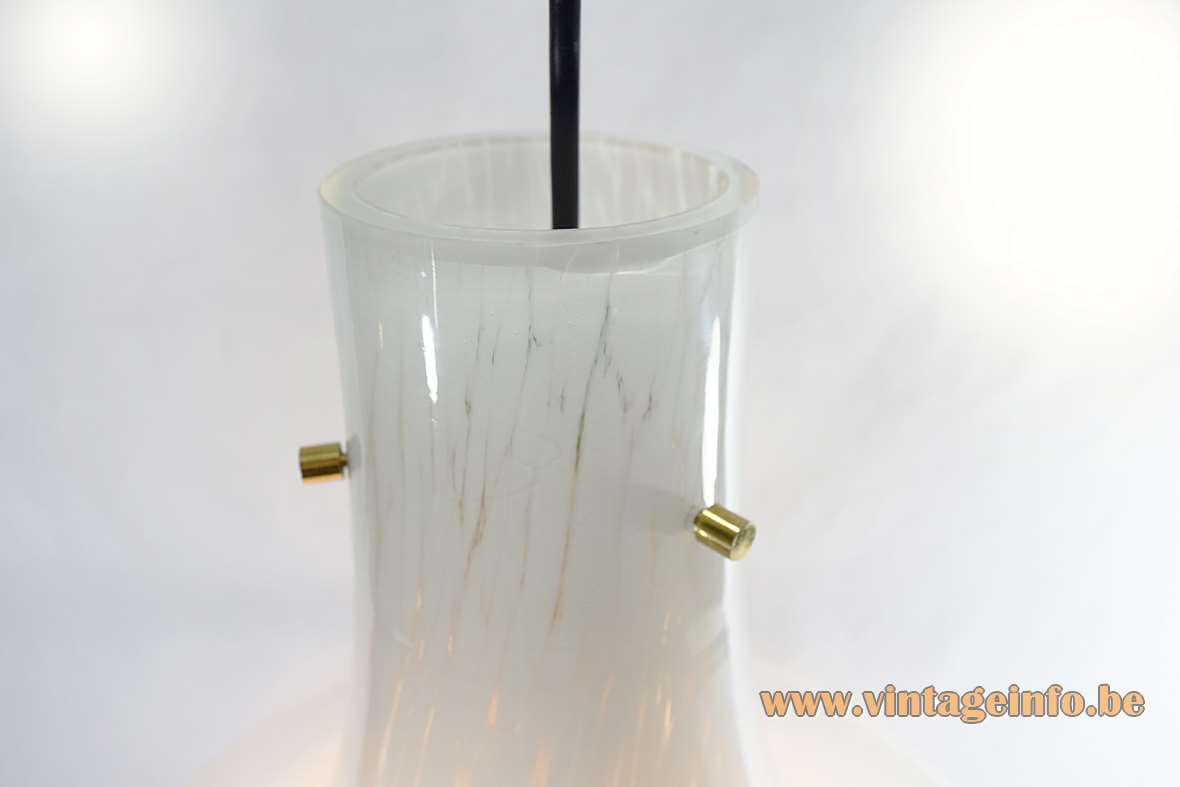 Glashütte Limburg Crystal Glass Pendant Lamp trumpet 1970s white flakes brass bell Germany