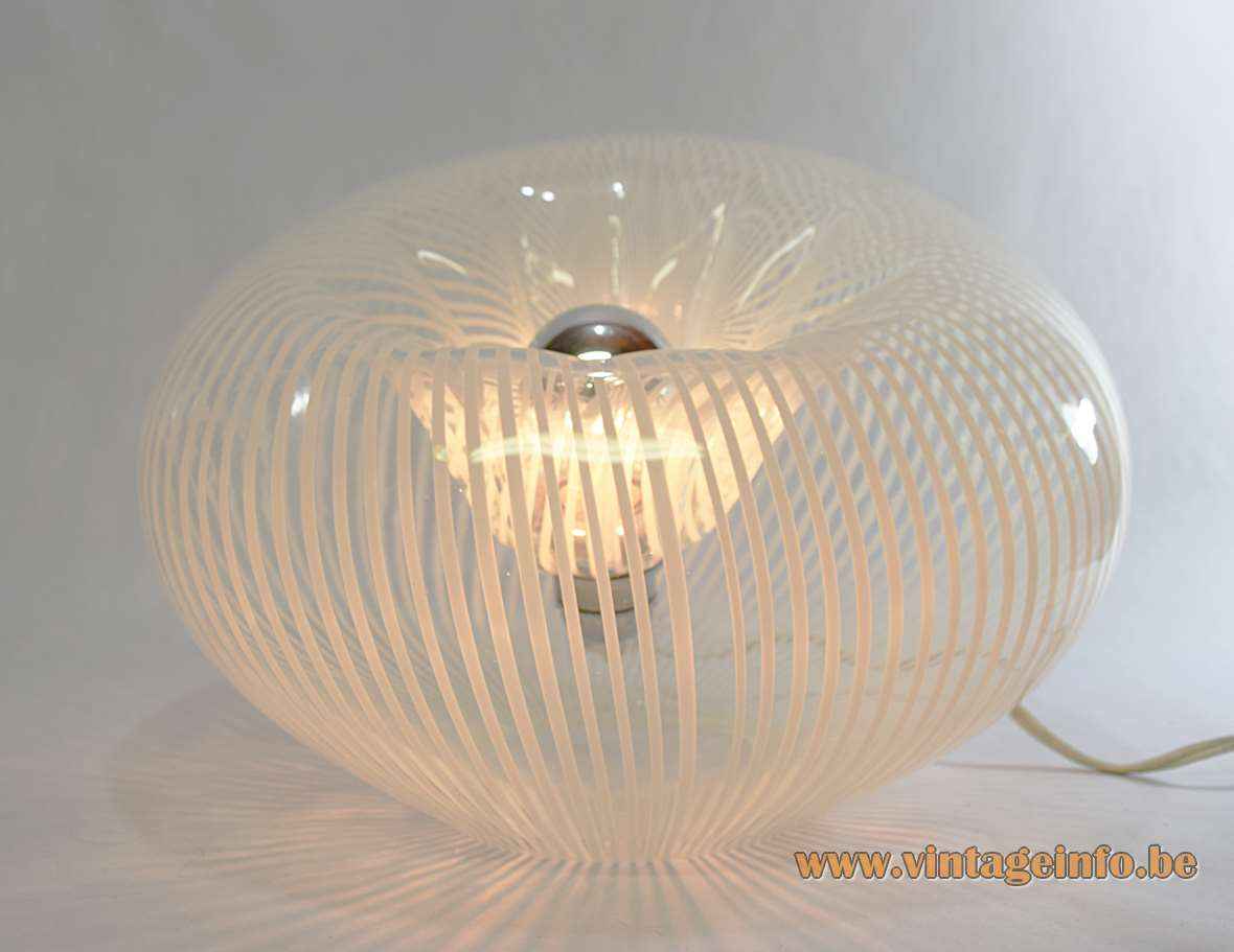 Lino Tagliapietra Table Lamp clear white stripes Murano glass 1970s La Murrina Murano Italy hand blown