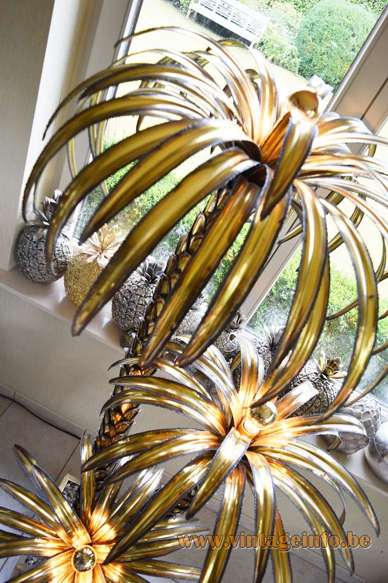Maison Jansen Palm Trees Floor Lamp burned brass 1970s 1980s Hollywood Regency chic pebbles