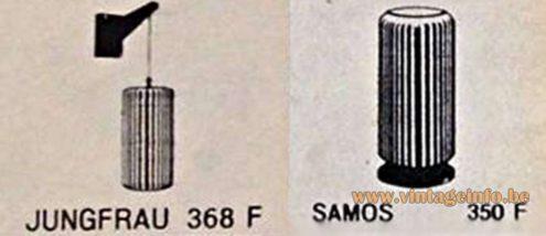 Philips Jungfrau and Samos 1950s Lights