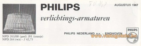 Philips jute and wood pendant lamp in a catalogue from 1967