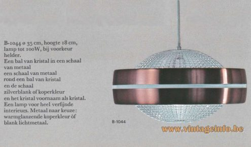 Raak B-1044 Pendant Light Catalogue 8 - 1968