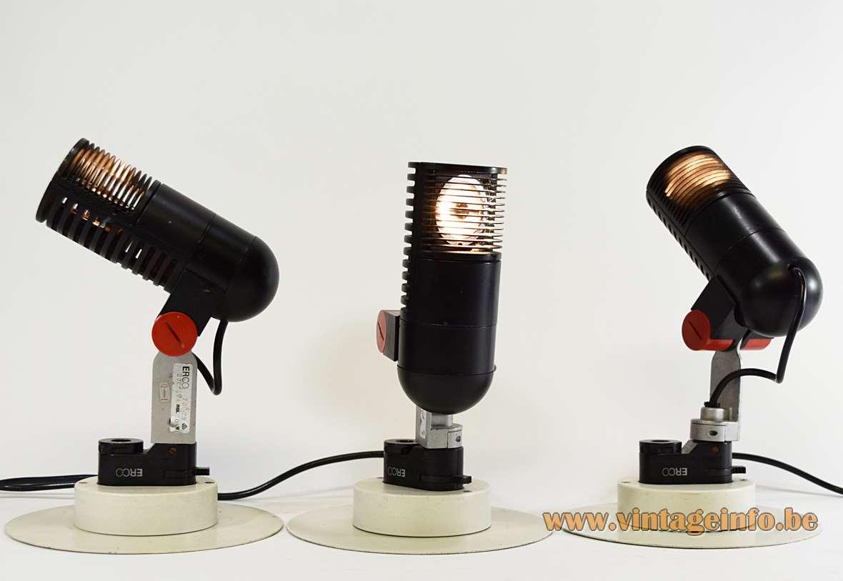 Roger Tallon ERCO Halogen Spots, 1977, black, red, plastic, aluminium, industrial design, rail